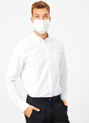 Fabrika Comfort Fabrika Comfort Düğmeli Yaka Düz Beyaz Gömlek Beyaz